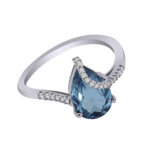 (10K Gold Pear Shape Simulated Gemstone & 1/10 Ct Real Diamond Solitaire Bypass Ring (white-gold, blue-topaz & real diamond))