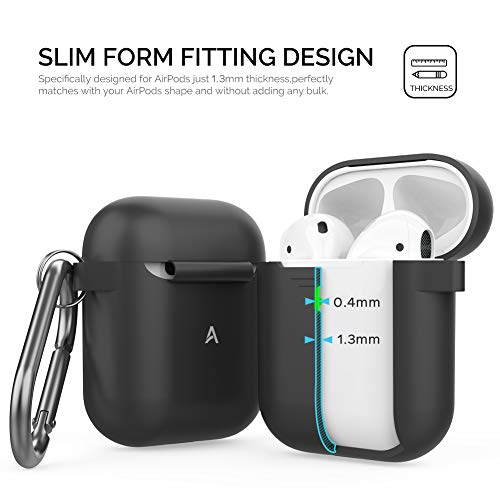 AhaStyle AirPods Case Cover Plus Hand Strap Silicone Protective Case Cover Accessories Compatible with Apple AirPods 2 & 1 for Man Wonen Girls(Black)