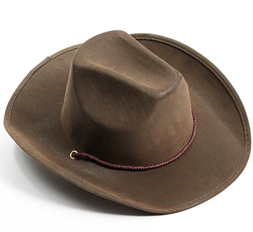 [Forum Novelties Men's Novelty Adult Suede Cowboy Hat, Brown, One Size] (Womens Western Costumes)