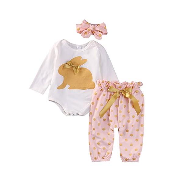 SCFEL Neonata appena nata del bambino Coniglio Stampa pagliaccetto + Dot pantaloni + fascia che coprono le Outfits 1