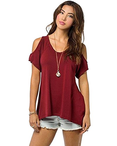 Pxmoda Womens Casual Cold Shoulder T-Shirt Flowy Swing Tops (L, Wine Red)