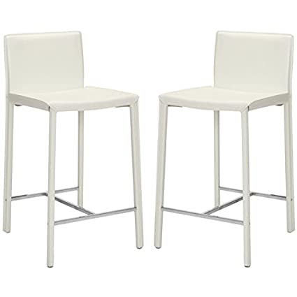 Awe Inspiring Safavieh Home Collection Jason White Leather 24 Inch Counter Stool Set Of 2 Lamtechconsult Wood Chair Design Ideas Lamtechconsultcom