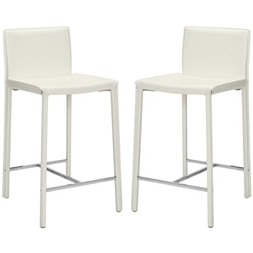(Safavieh Home Collection Jason White Leather 24-inch Counter Stool (Set of 2))