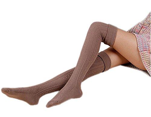 AnVei-Nao Womens Girls Winter Over Knee Leg Warmer Knit Crochet Socks Leggings Khaki