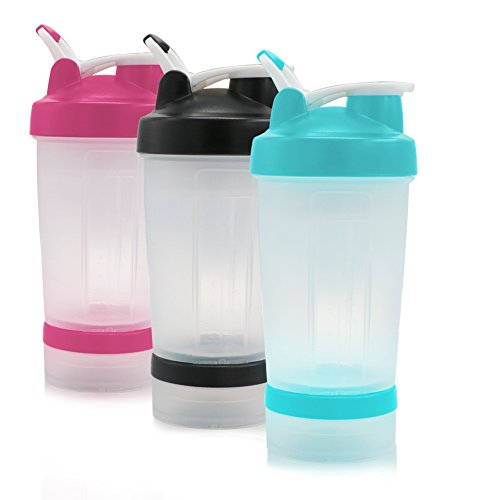 Sport Protein Powder Shaker Bottle, 3-in-1 Free Combination Milkshake Bottle, One Mixer Ball, Two Storage Boxes, Loop Top Design, 17 OZ/500ml, Half Black, By Auoon