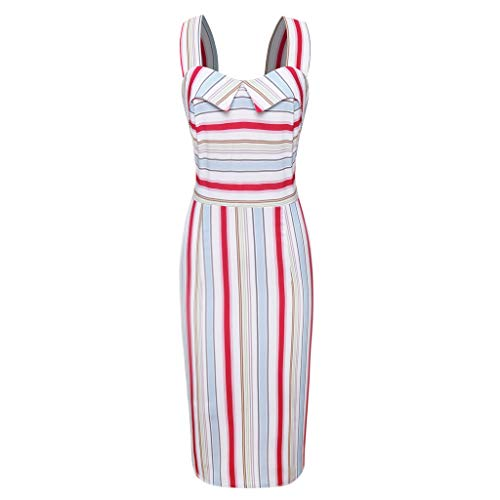 TUSANG Women Skirt Sleeveless Striped Print Bodycon Party Ball Gown Vintage Strap Dress Slim Fit Comfy Dress(Multicolor,Multicolor)