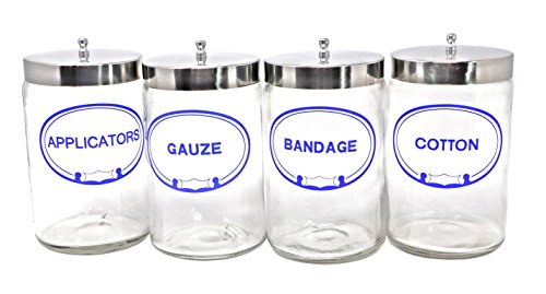 Pivit Imprinted Flint Glass Apothecary Sundry Jars With Lids | 7''H X 4.25''D Clear | Set of 4 | Bandages, Applicators, Gauze, Cotton Labeled | Polished Aluminum Tops | Storage For Medical and Supplies by pivit