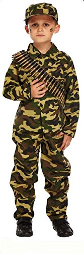 [Henbrandt Child Army Military Camouflage Fancy Dress Costume (7-9 Years)] (Up Fancy Dress Costumes)