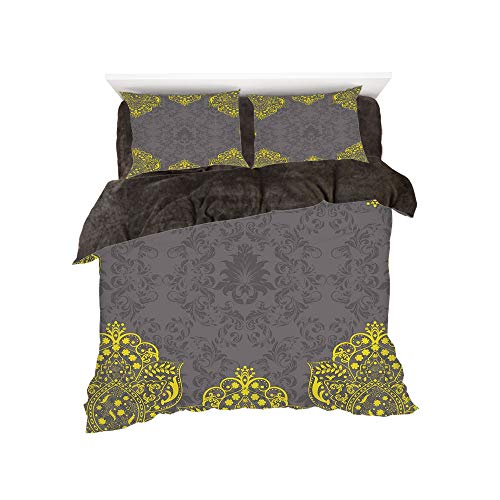 All Season Flannel Bedding Duvet Covers Sets for Girl Boy Kids 4-Piece Full for bed width 4ft Pattern by,Grey and Yellow,Victorian Style Backdrop with Ethnic Floral Frame Image,Charcoal Grey and Marig