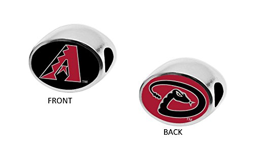 Arizona Diamondbacks 2-Sided Bead Fits Most Bracelet Lines Including Pandora, Chamilia, Troll, Biagi, Zable, Kera, Personality, Reflections, Silverado and More Charm Bead Fits Pandora Style Bracelets