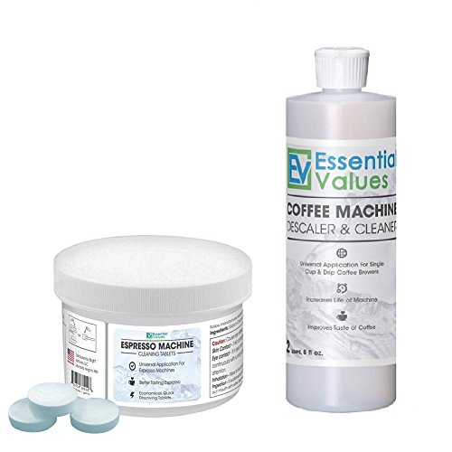 Espresso Machine Cleaning Tablets (30 Count) & BONUS Descaler by Essential Values, Made in USA by Essential Values