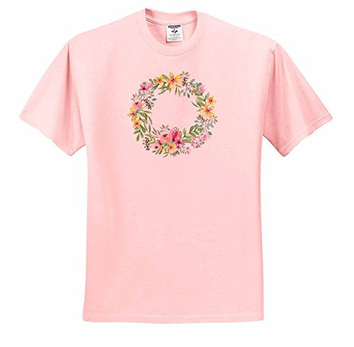 Price comparison product image Anne Marie Baugh - Watercolor - Pretty Yellow, Pink, Purple, and Green Watercolor Floral Wreath - T-Shirts - Youth Light-Pink-T-Shirt Small(6-8) (ts_252800_44)