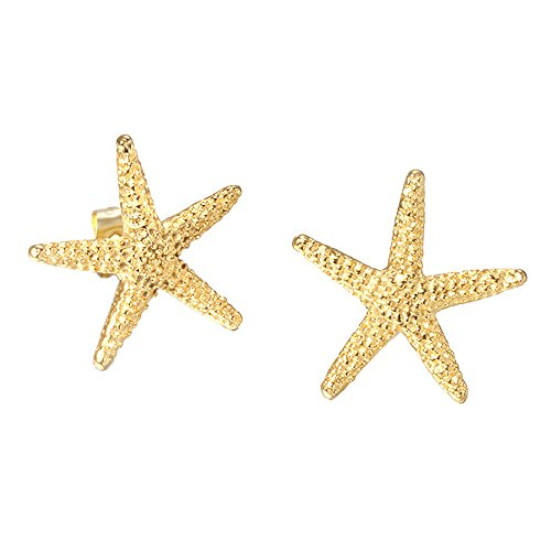 Gold Starfish Earrings (UM Jewelry Charm Womens Titanium Stainless Steel Starfish Stud Earrings Gold)