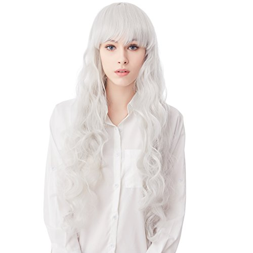 32 Inches Silver Long Big Wavy Cosplay Synthetic Hair Wigs for Women - Volumizing Wig