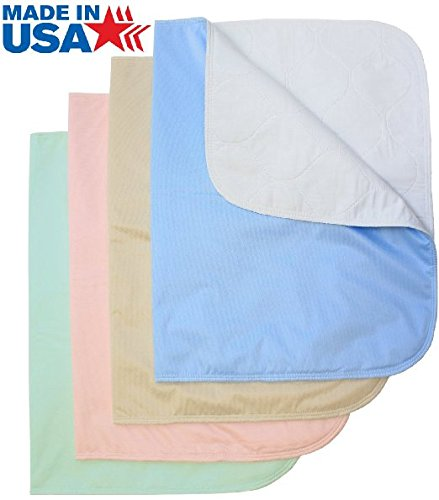 Head2Toe Washable Bed Pads / Reusable Incontinence Underpads 34x36 - 4 Pack - Blue, Green, Tan and Pink - Ideal For Children and Adults Wholesale Incontinence Protection