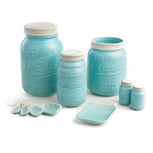 Mason Jar Ceramic 6 Piece Kitchenware Set: Measuring Cups and Spoons, Cookie Jar, Utensil Crock, Spoon Rest (Blue) by World Market