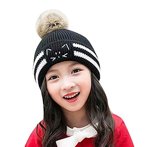 (Moonper Children Knit Hat,Baby Boys Girls Cartoon Bear Hairballs Winter Warm Balls Beanie Cap 2-10 Years (Black))