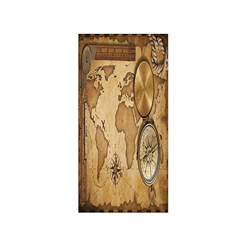 Decorative Privacy Window Film/Aged Vintage Treasure Map Ruler Rope Old Compass Antique Adventure Discovery/No-Glue Self Static Cling for Home Bedroom Bathroom Kitchen Office Decor Brown Light Brown