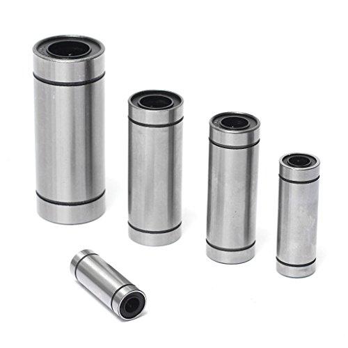 2Pcs LM10LUU 10mm Shaft Round Long Linear Motion Metal Shield Bearing Ball (Long Metal Shaft)