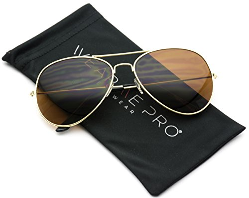 WearMe Pro - Classic Metal Standard Aviator Sunglasses - Spring Hinges Frame (Golden Frame / Brown Lens, 51 - Aviator Sunglasses Golden
