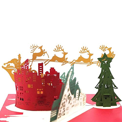 Pop Up Christmas Card, Paper Love Flying reindeer in the city Card, 3D Xmas Cards, Holiday Popup Card, Christmas Gift