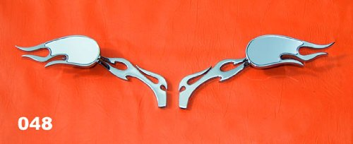 Chrome Billet Mirrors Flamed Stems 3D Flames for Harey and Other - Billet Stem Mirror