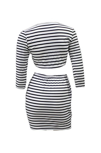 Frauen Sexy aushöhlen Streifen 2 Stück Mini figurbetonten Kleid