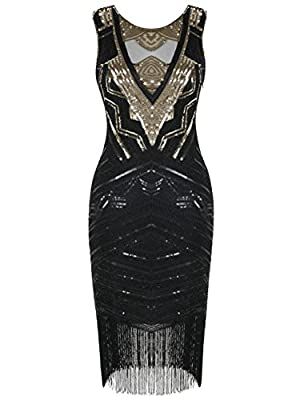 kayamiya Women's 1920s Flapper Dress Sequin Beaded Cocktail Gatsby Dress