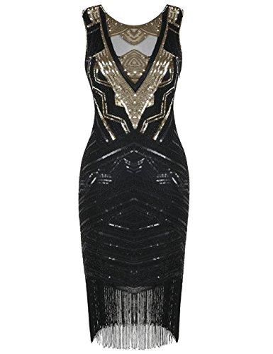 Jahre Kleid Kayamiya Damen Gatsby Flapper Perlen Kleid Cocktail Gold Pailletten 1920er RZwSpq4
