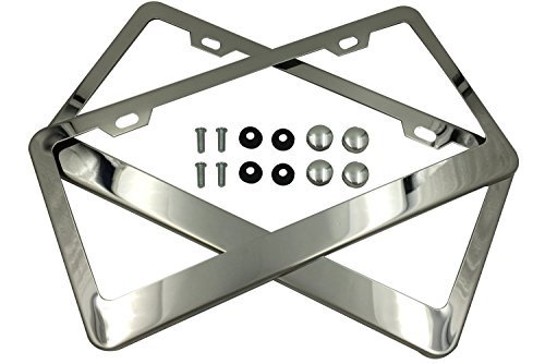 Tokept Polish White Stainless Steel License Plate Frame with 2 Holes(Pack of 2) (License Plate Frame Toyota compare prices)