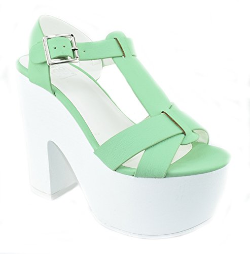 Chunky Lug Heels Sandals Open Toe Platform Ankle Strap Wedge RICHAEL Aqua Green 7.5 (Aqua Wedges)