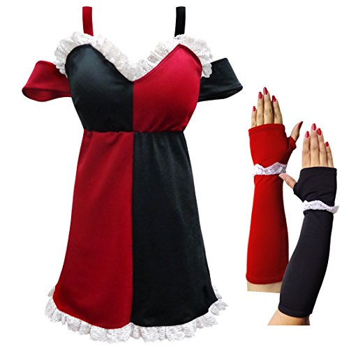 HarleQuin Plus Size Supersize Halloween Costume Dress & Arm Covers 2x -