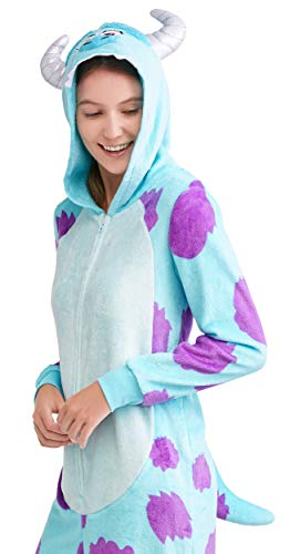 Disney Women's Faux Fur Licensed Sleepwear Adult Costume Union Suit Pajama (XS-3XL) Sully S