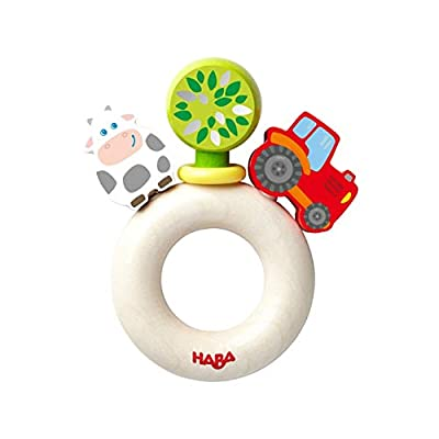 HABA Farm World Wooden Clutching Toy with Plastic Ring (Made in Germany): Toys & Games