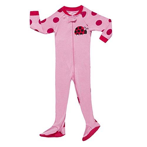Little Girls Ladybug Footed Pajama Sleeper 100% Cotton Blanket Pink Size 3T