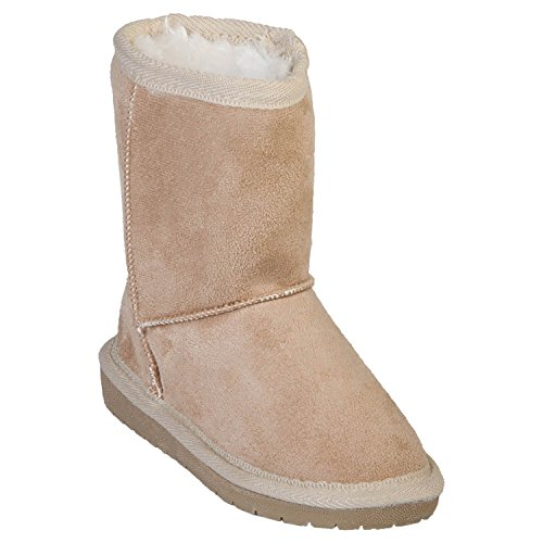 Inch Faux Shearling Microfiber Boots (Natural, 10-11) (Faux Fur Kids Boots)