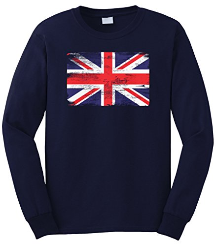 Cybertela Men's Faded Great Britain England Flag Long Sleeve T-Shirt (Navy Blue, X-Large)