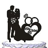 meijiafei Topper- para tarta de boda novia Hold el novio con flores con Big Anillo y Script Señor Señora Partido Decoración