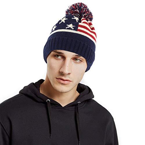 USA Patriotic Beanie Cap American Flag Stripes Winter Skull Cap Cuffed Winter Skully Hat Knit Toque Cap