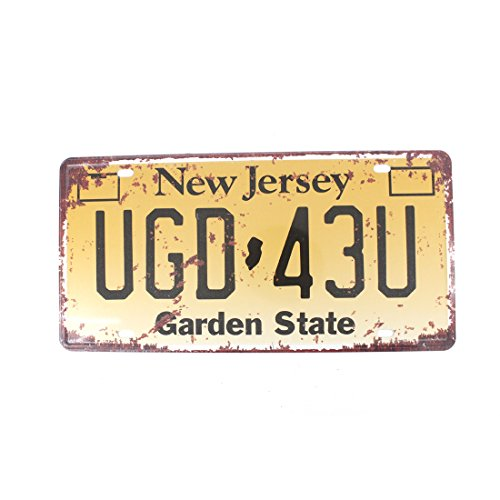 6x12 Inches Vintage Feel Metal Tin Sign Plaque for Home,bathroom and Bar Wall Decor Car Vehicle License Plate Souvenir (NEW JERSEY UGD-43U) (Metal Wall New)