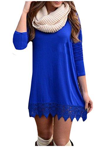 donne Plus Blu Coolred Lunga Casuale Manica Congiungono Size Solido Vestito Assetto BRwxaqUdWw