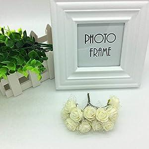 LAPOPNUT 144pcs Mini Artificial Fake Roses Flowers Bouquet Realistic PE Foam Flower Petals Stem Chiffon for Wedding Baby Shower Home Party Wreath Gift Box Decoration DIY Crown (Beige) 3