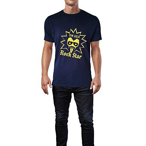 SINUS ART® Rock Musik Grafik Art Herren T-Shirts in Navy Blau Fun Shirt mit tollen Aufdruck
