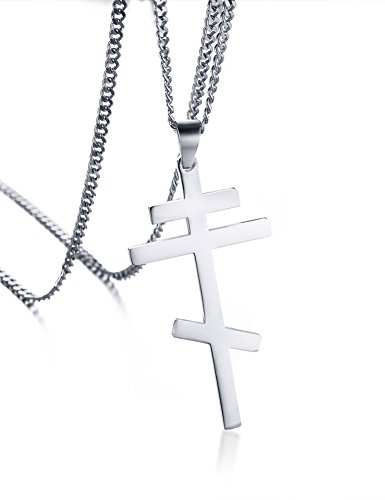 Russian Native Costume (Polished Stainless Steel Russian Orthodox Cross Crucifix Pendant Necklace for Men Women,24