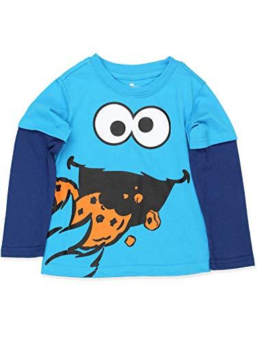 Sesame Street Cookie Monster Toddler Boys Long Sleeve Tee (3T, Light Blue)