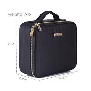 ROWNYEON Travel Makeup Bag Makeup Organizer Case Makeup Train Case Makeup Artist Bag Portable Cosmetic Bag Gift for…