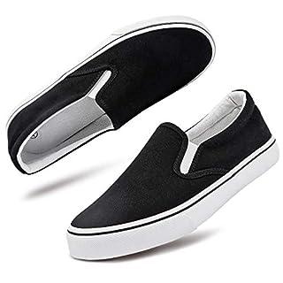 Women's Canvas Slip On Sneakers Fashion Flats Shoes White Canvas Shoes(9.Black)