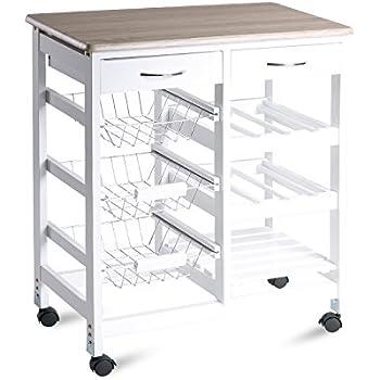 Amazon merax 26 portable storage island kitchen trolley cart merax 26 portable storage island kitchen trolley cart with drawers white watchthetrailerfo