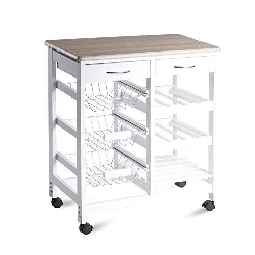 Merax 26' Portable Storage Island Kitchen Trolley Cart with Drawers (White NO.1)