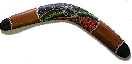 Decorative Aboriginal Style Dot Painted Wooden Boomerang - 40 cm - Fair Trade Aboriginal Dreamtime Paintings